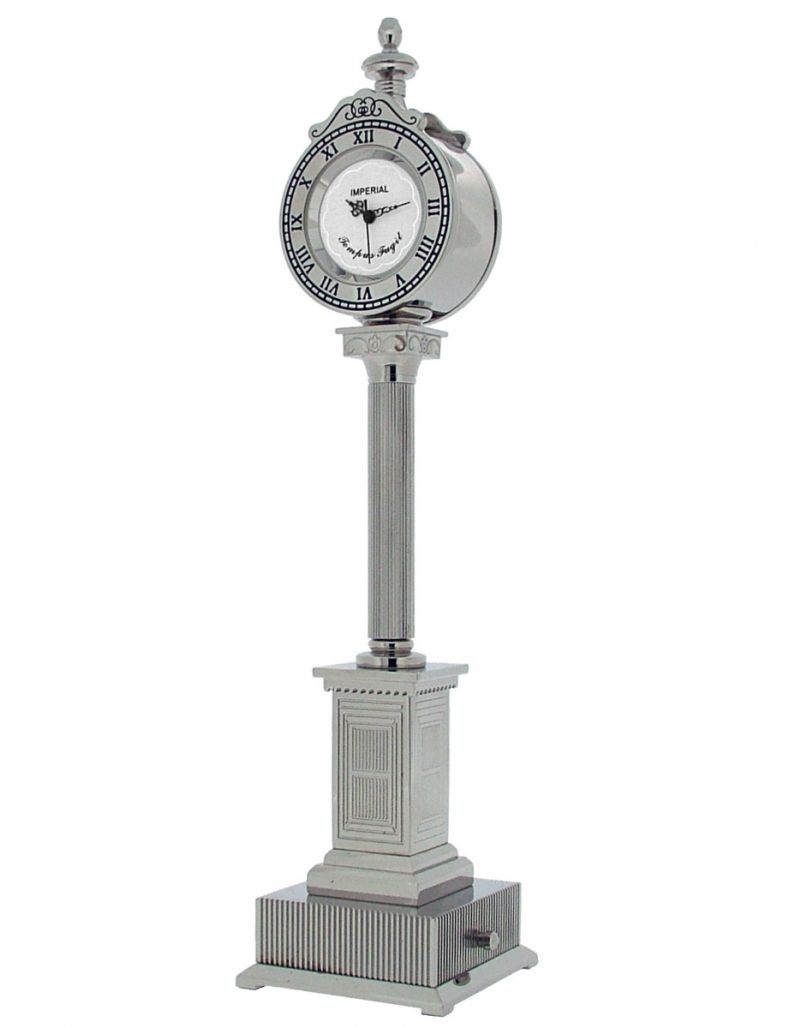 GTP Unisex Lampost With 2 Clocks Chrome Plated on Solid Brass Novelty Desktop Collectors Miniature Clock IMP441B-S