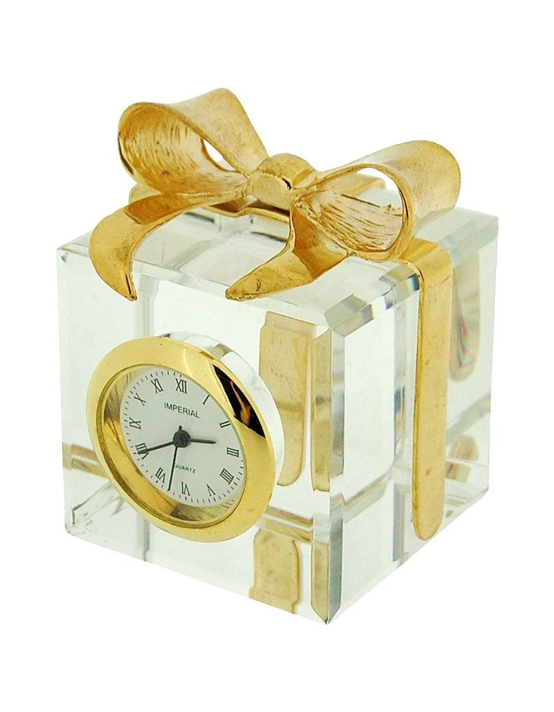 GTP Ladies Miniature Gold Plated Crystal Gift Box & Bow Novelty Collectors Clock IMP507