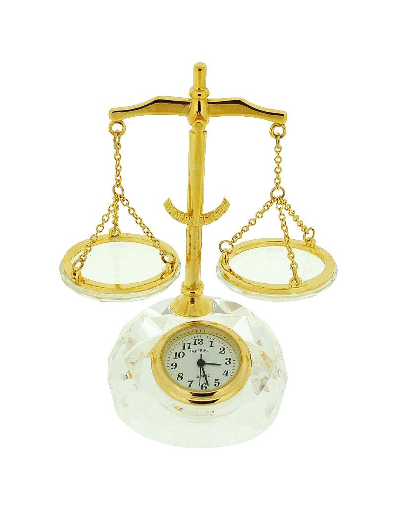 GTP Miniature Gold Plated Alloy & Crystal Balance Scales Novelty Collectors Clock IMP513