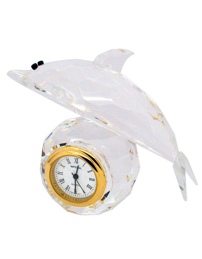 GTP Ladies Miniature Dolphin Crystal & Gold Plated Alloy Fittings Novelty Collectors Clock IMP520