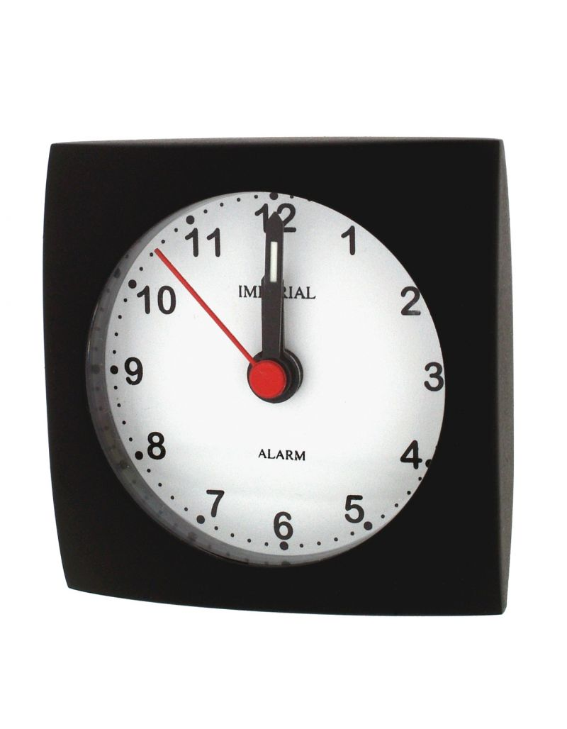 GTP Unisex Small Square Alarm Clock Black Adonised on Alloy Perfect for Travelling IMP601B