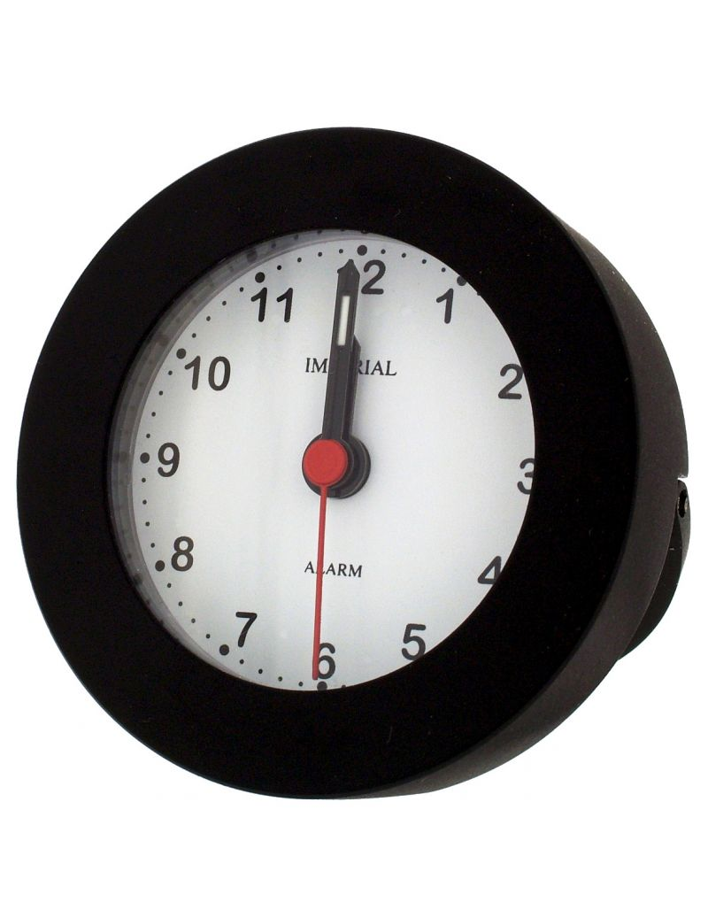 GTP Unisex Small Round Alarm Clock with Stand Black Adonised on Alloy Perfect for Travelling IMP604B