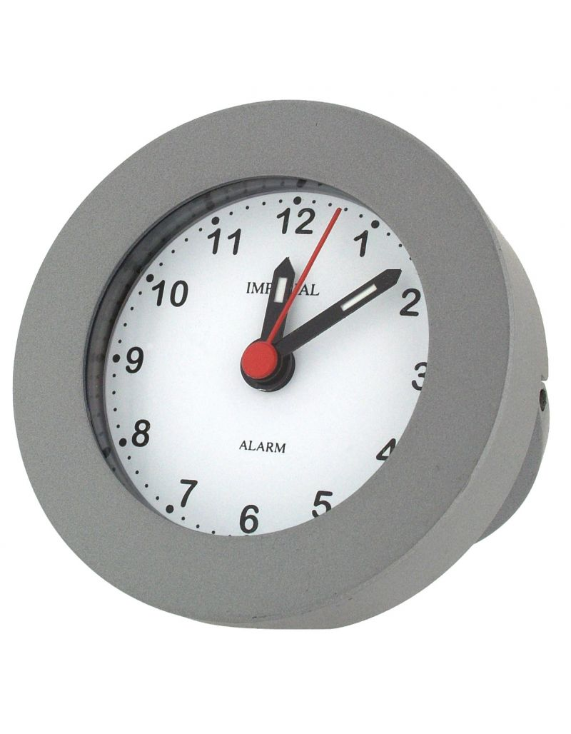 GTP Unisex Round Alarm clock with Leg Stand Chrome Anodised on Alloy in Box IMP604/S