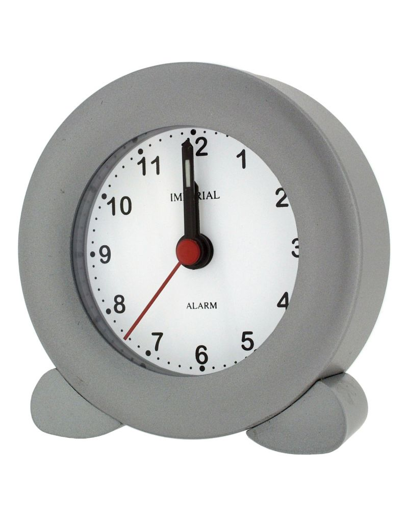 GTP Unisex Small Round Alarm Clock with Legs Silver, Chrome Adonised on Alloy Perfect for Travelling IMP605S