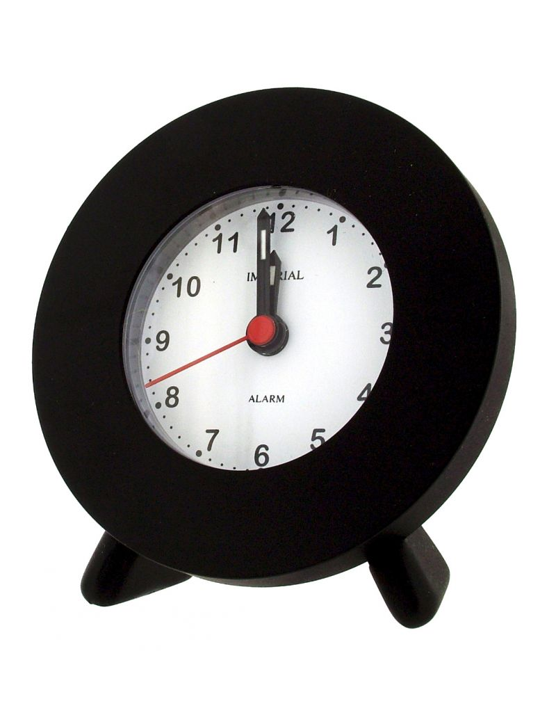 GTP Unisex Small Round Alarm Clock with Legs Black, Adonised on Alloy Perfect for Travelling IMP606B