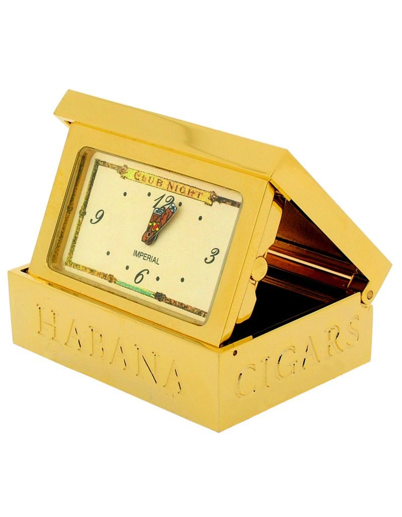 GTP Unisex Miniature Collectors Novelty Cigar Box Clock Gold Plated on Solid Brass IMP72
