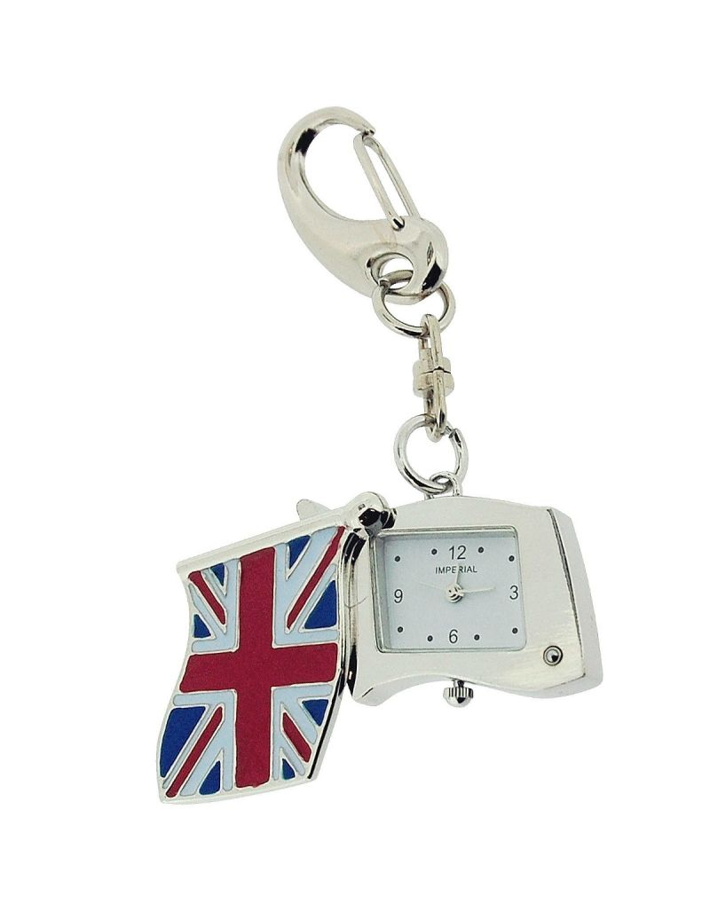 GTP Unisex Novelty Union Jack Mini Flag Clock Keyring The Ideal Gift IMP745