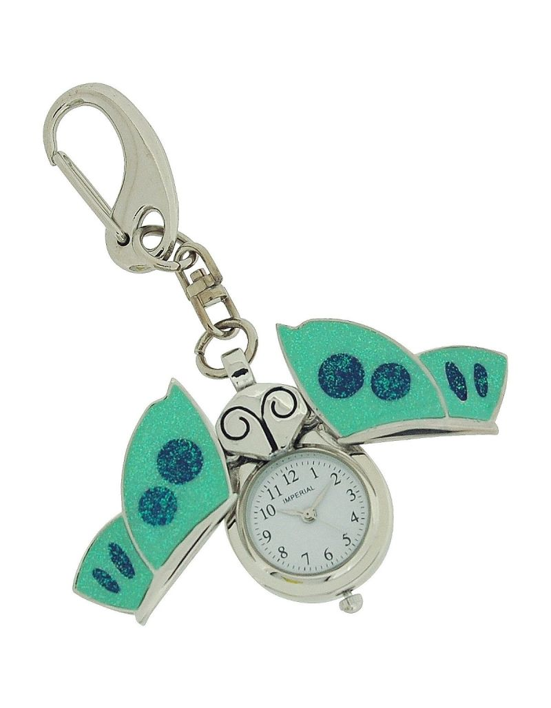 GTP Unisex Novelty Blue Enamel Butterfly Clock Keyring The Ideal Gift IMP746