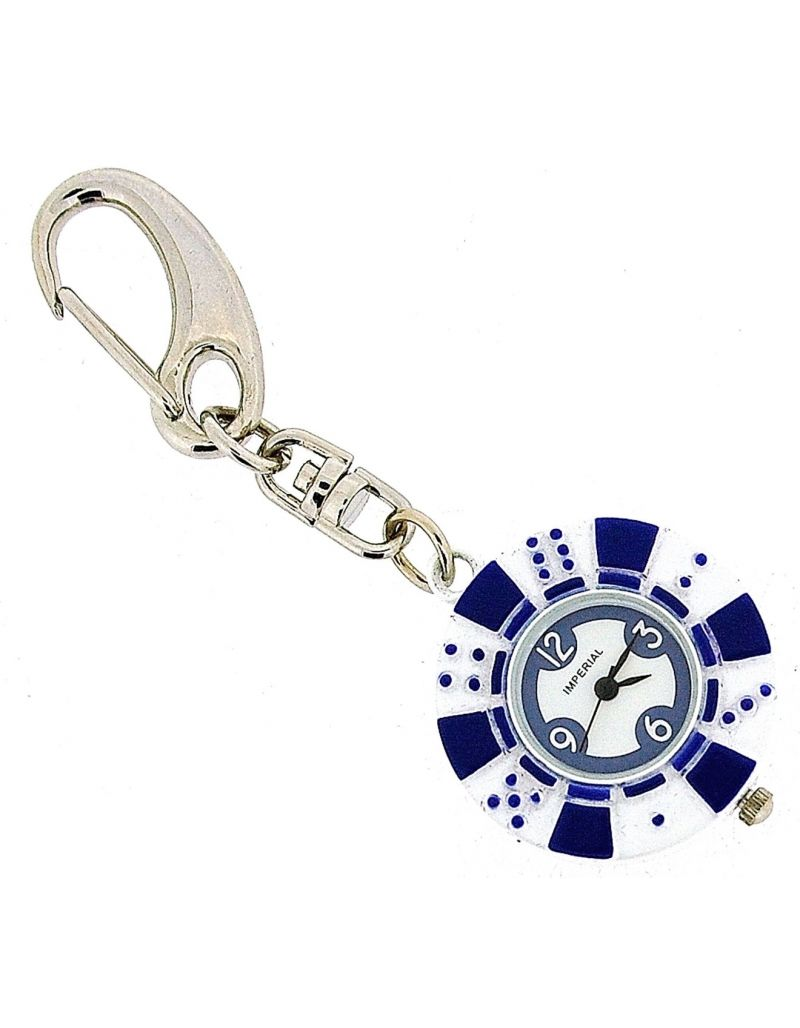 GTP Unisex Novelty £10.00 Blue Poker Chip Clock Keyring An Ideal Gift IMP748B