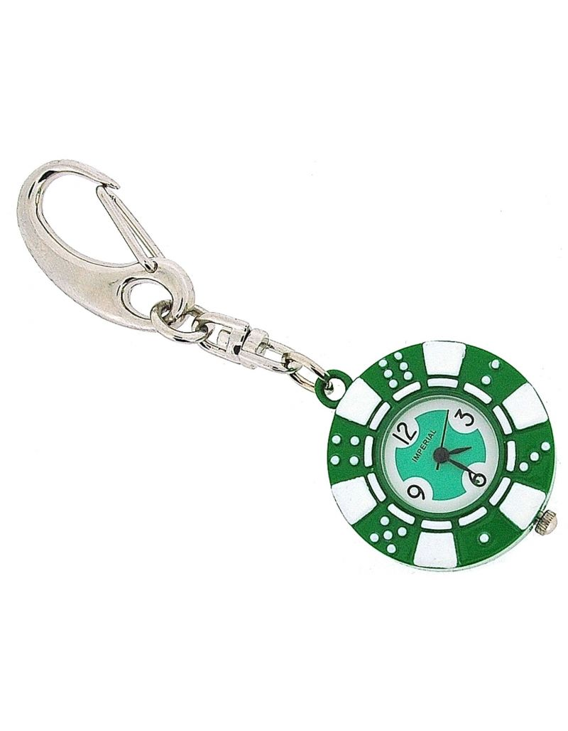 GTP Unisex Novelty £5.00 Green Poker Chip Clock Keyring An Ideal Gift IMP748G