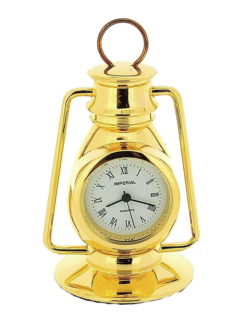 GTP Unisex Miniature Goldtone Metal Hurricane Lamp Novelty Collectors Clock IMP77
