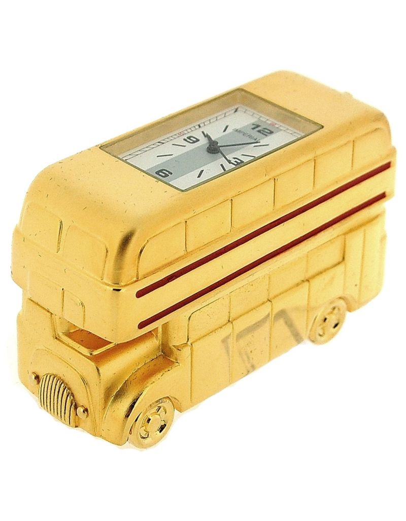 GTP Unisex Miniature Goldtone Double Decker London Bus Novelty Collectors Clock IMP78