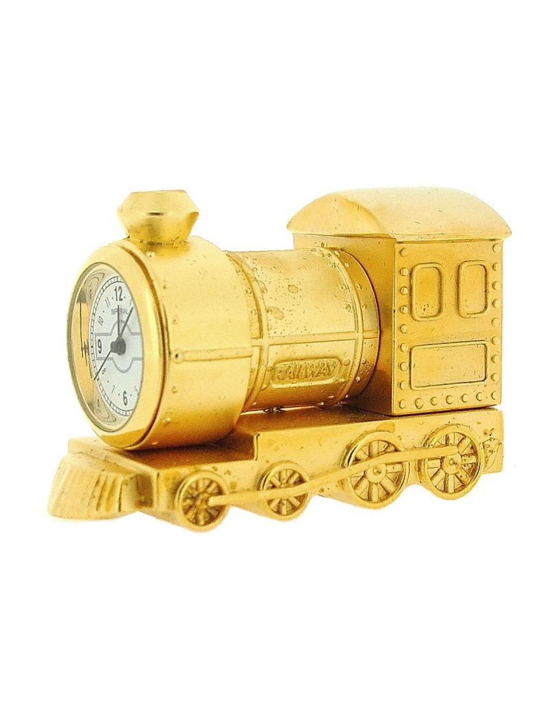 GTP Unisex Miniature Goldtone Metal Steam Engine Train Novelty Collectors Clock IMP79