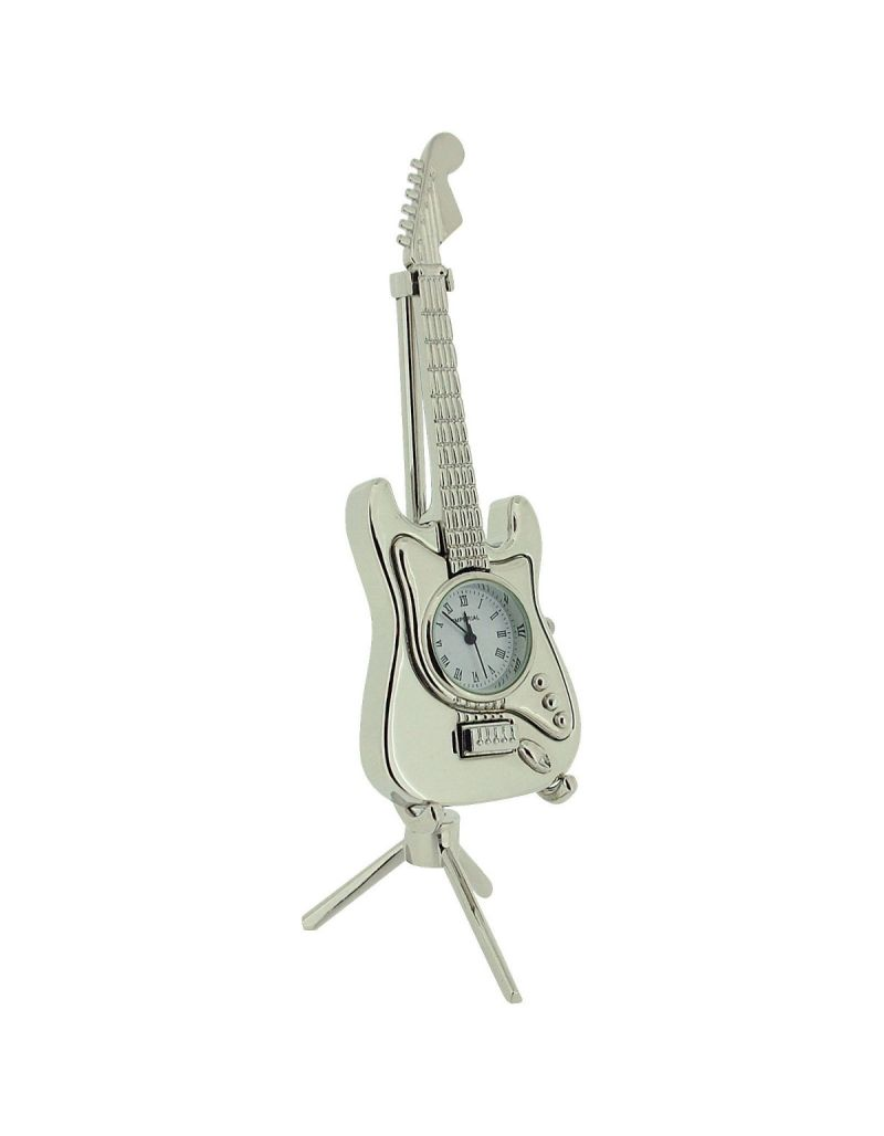 GTP Unisex Electric Guitar on Stand Style Chrome Plated on Alloy Novelty Desktop Collectors Miniature Clock IMP85/S(AL)