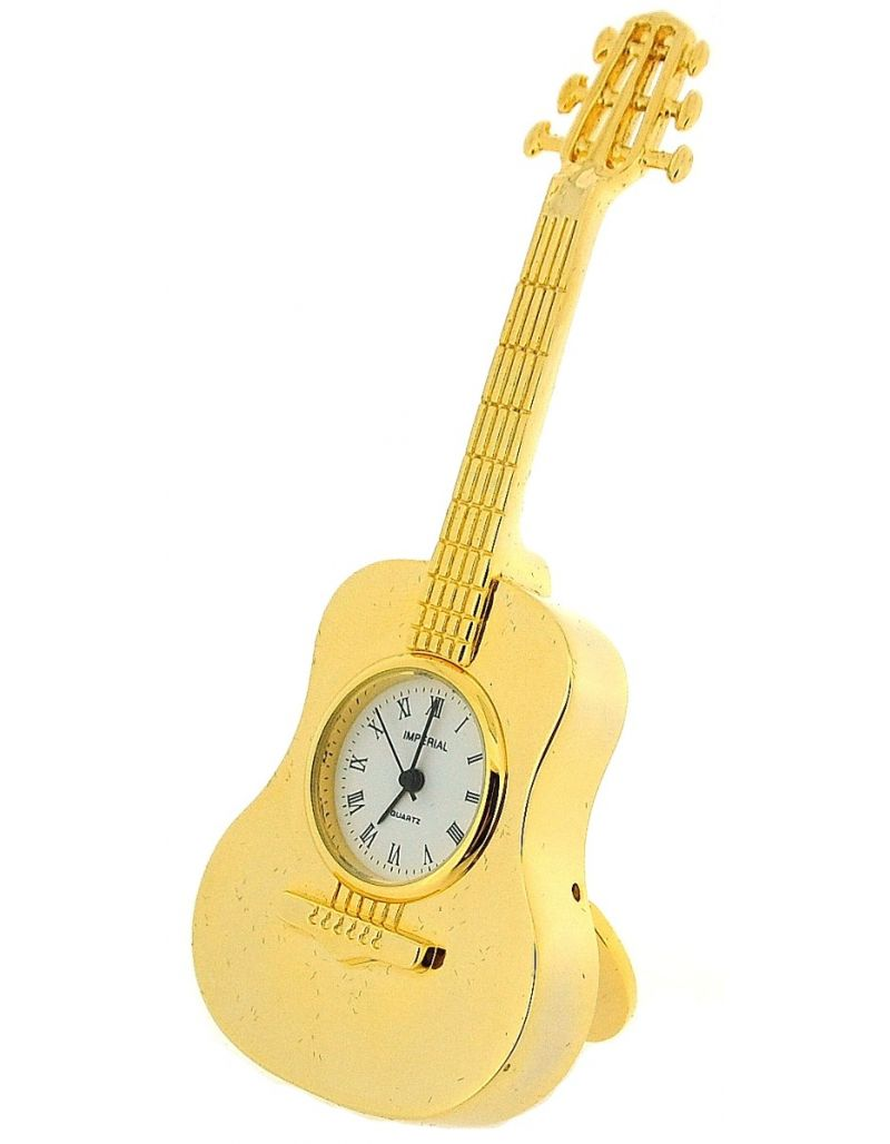 GTP Unisex Miniature Goldtone Metal Free Standing Guitar Novelty Collectors Clock IMP86