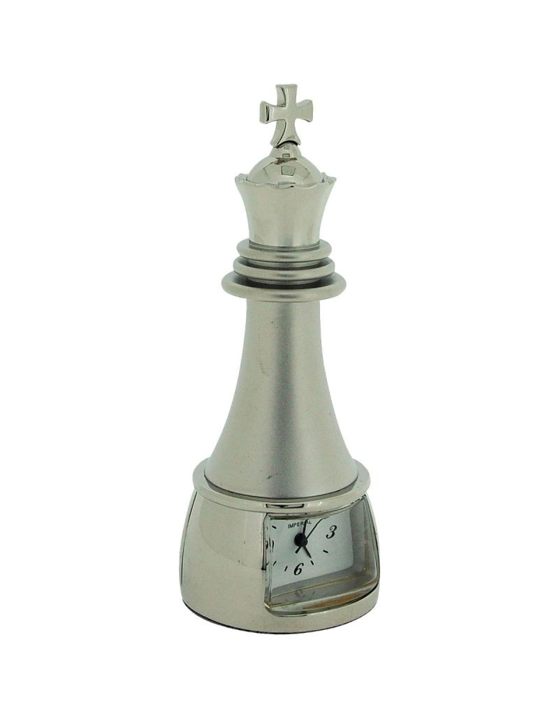 GTP Unisex Miniature Chrome Plated on Solid BrassChess King Piece Novelty Collectors Clock IMP89B-S