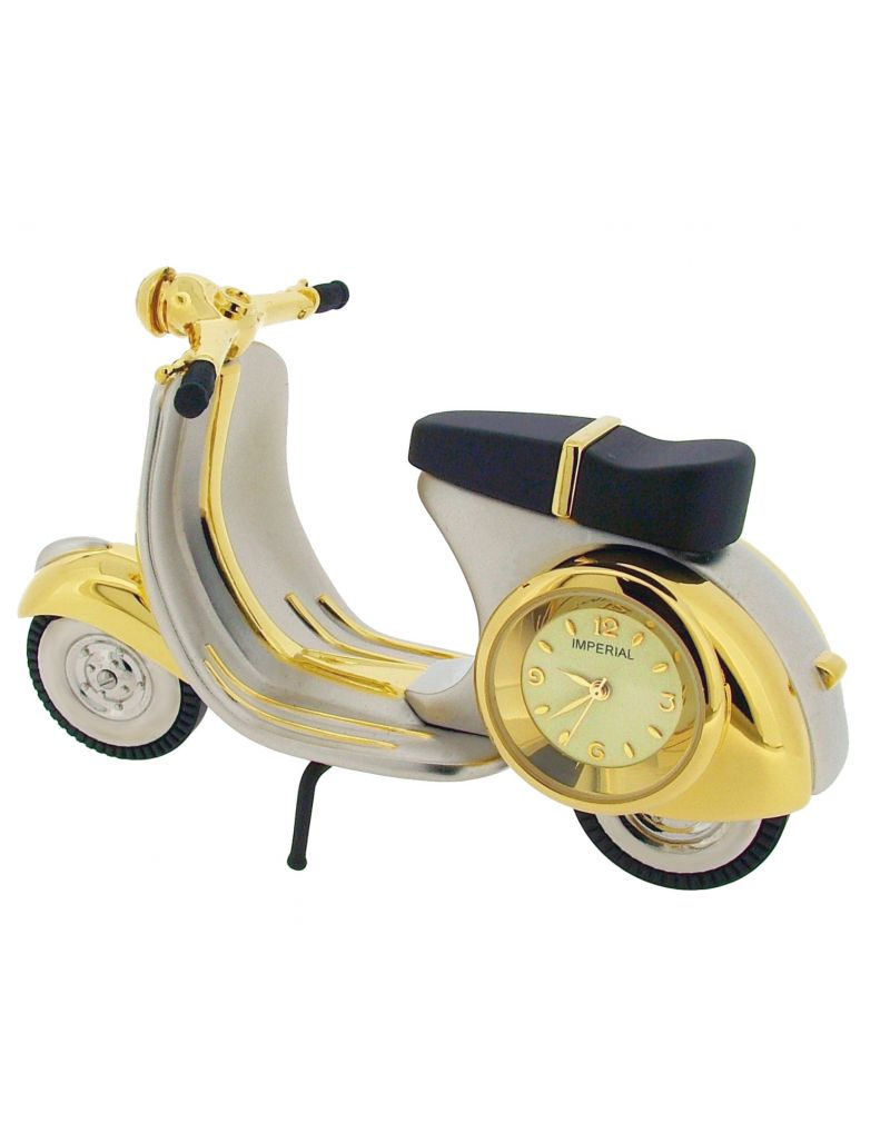 GTP Scooter/Vespa/Moped Chrome & Goldtone Plated on Alloy Novelty Desktop Collectors Miniature Clock