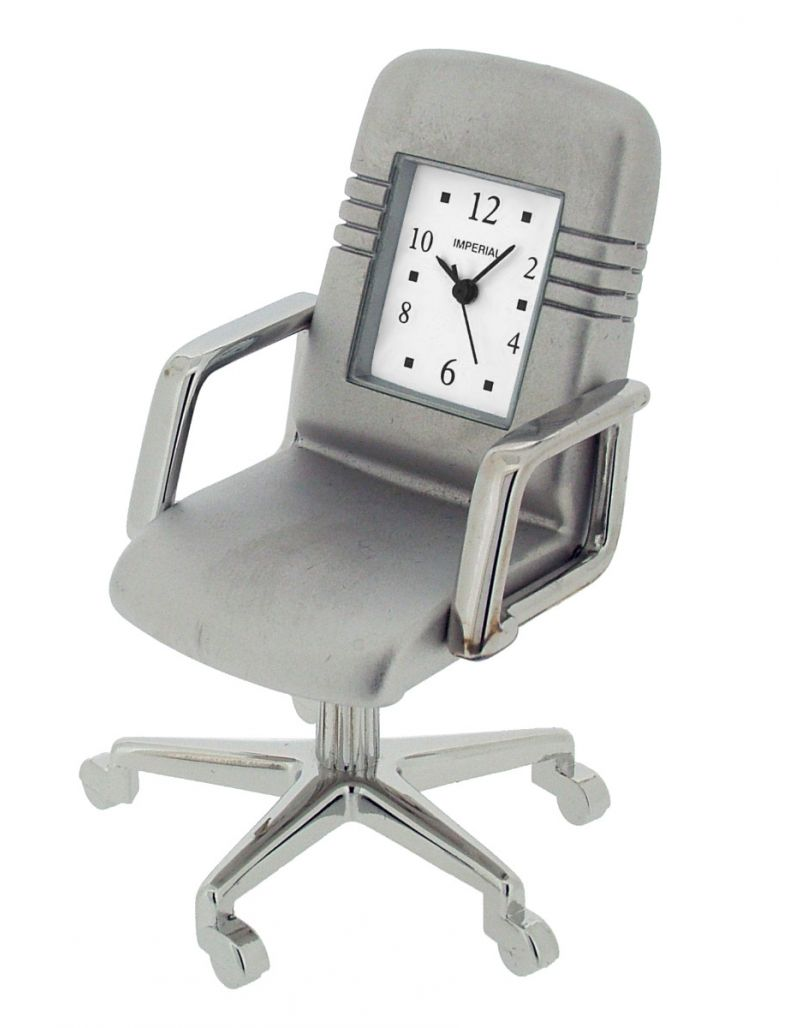 GTP Miniature Chrome Plated on Alloy Office Swivel Chair Novelty Collectors Clock IMP1047/S(AL)