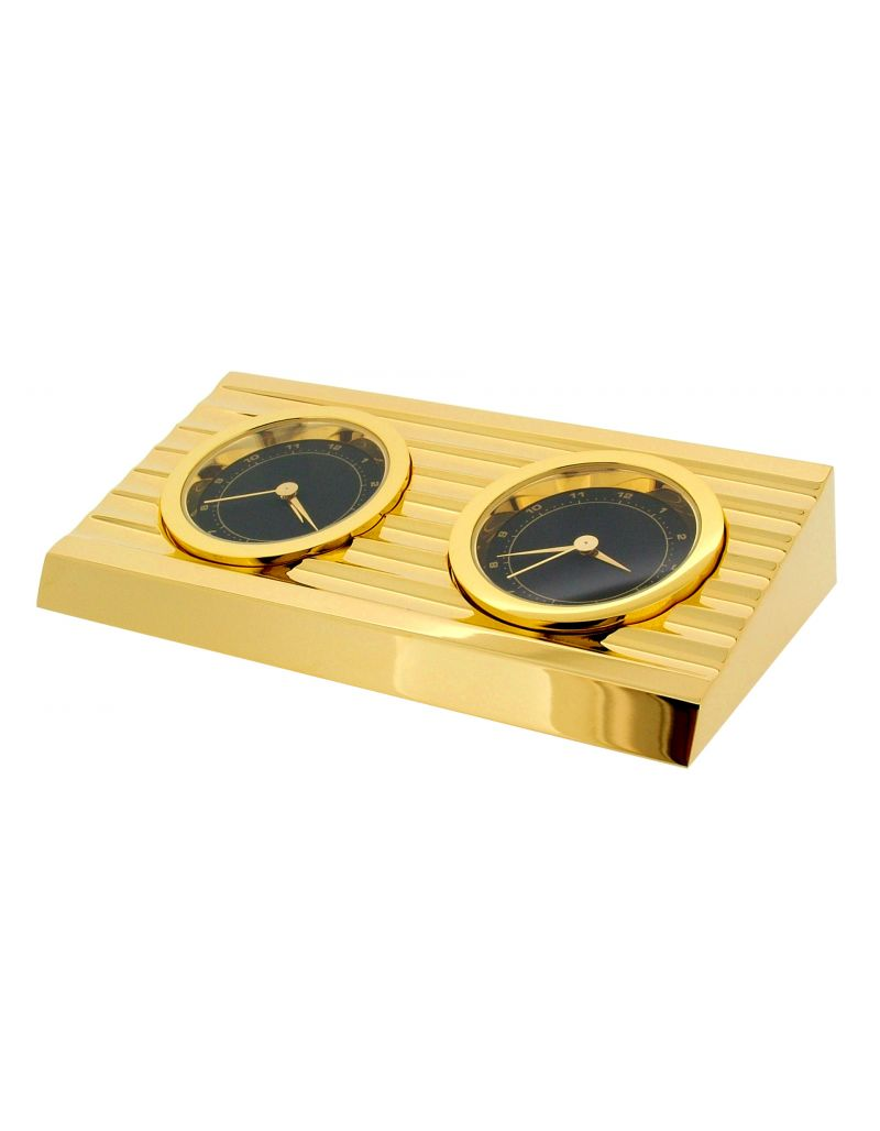 GTP 2 Time Zone 'Wedge' Goldtone Plated On Solid Brass Novelty Desktop Collectors Miniature Clock