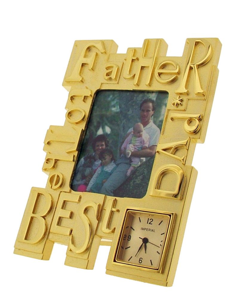 GTP To The Best Dad/Father Photo Frame Goldtone Plated on Alloy Novelty Desktop Collectors Miniature Clock