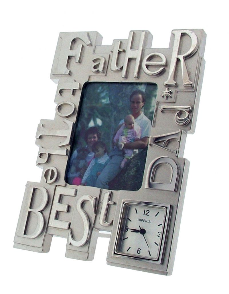 GTP To The Best Dad/Father Photo Frame Chrome Plated on Alloy Novelty Desktop Collectors Miniature Clock