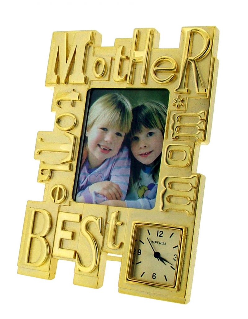 GTP To The Best Mom/Mother Photo Frame Goldtone Plated on Alloy Novelty Desktop Collectors Miniature Clock