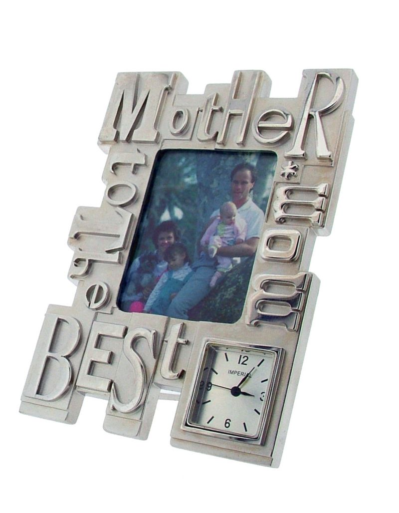 GTP To The Best Mom/Mother Photo Frame Chrome Plated on Alloy Novelty Desktop Collectors Miniature Clock