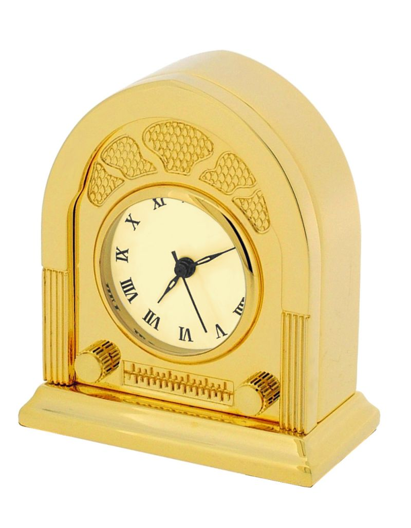GTP Unisex Fifties Style Radio Goldtone Plated on Solid Brass Novelty Desktop Collectors Miniature Clock IMP43B-G