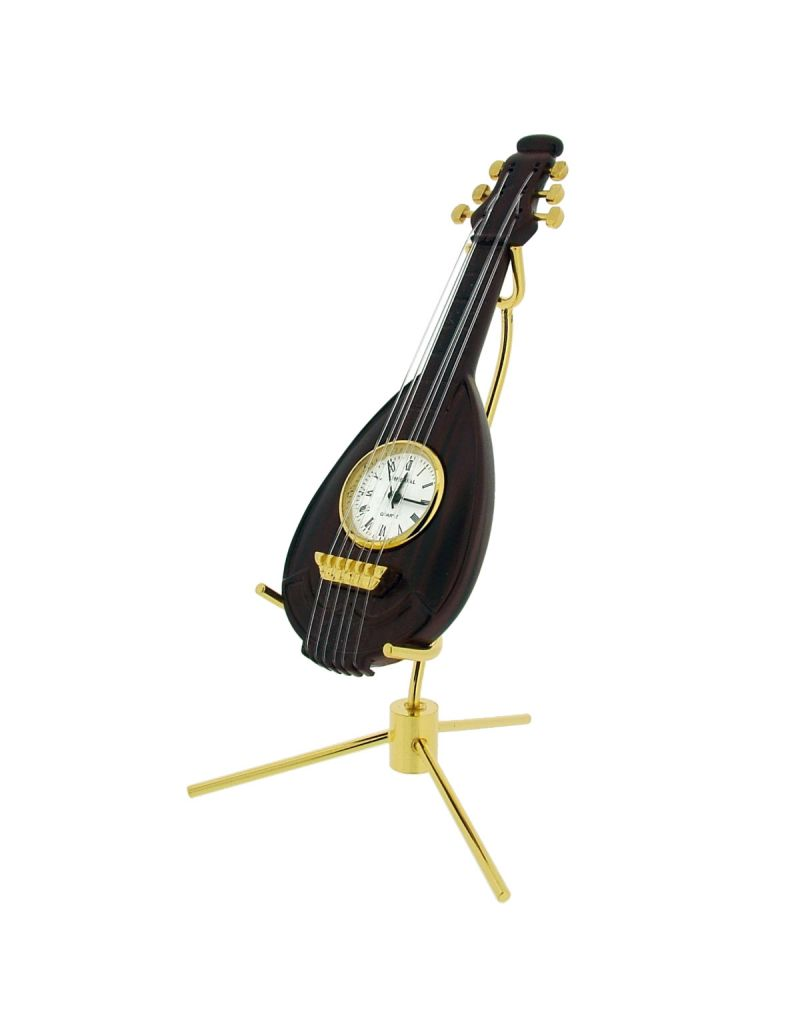 GTP Mandolin Wood Finish & Goldtone Plated on Alloy With Stand Novelty Desktop Collectors Miniature Clock