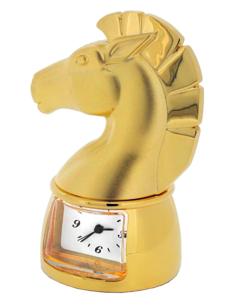 GTP Unisex Chess Knight Gold Plated on Solid Brass Novelty Desktop Collectors Miniature Clock IMP90B-G