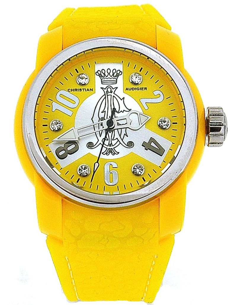 Christian Audigier Boost Ladies Analogue Yellow Rubber Strap Watch  INT-320