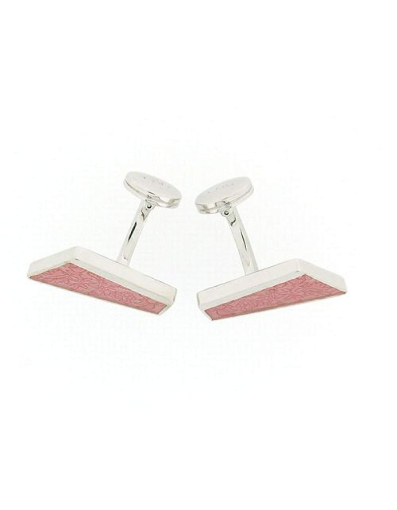 925 Silver Diagonal Shaped Cufflinks With Pink Leaf Design By TOC