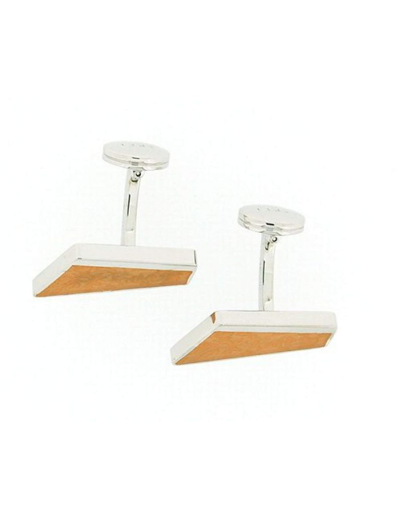 925 Silver Diagonal Shaped Cufflinks With Orange Leaf Design By TOC