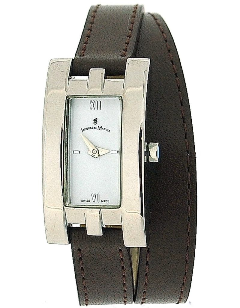 Jacques Du Manoir Ladies White Choclate Tan Extra Long Multi-Wrap Strap Watch