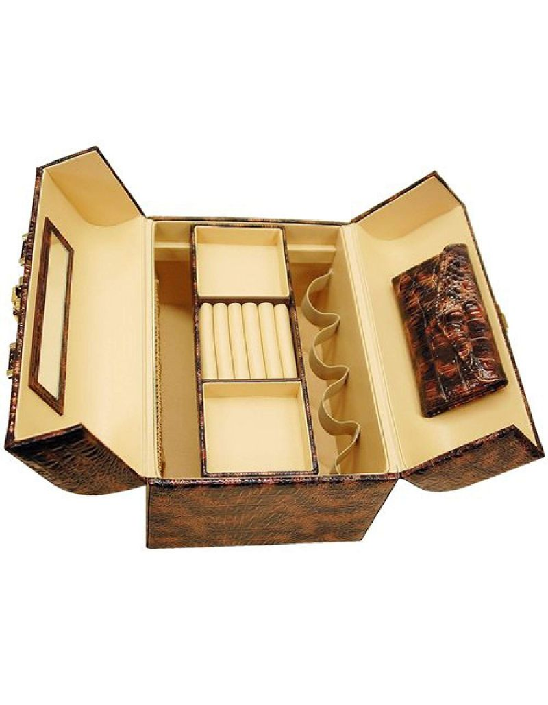 """AB Collezioni """"Always With You"""" Ladies Luxury Beauty Case Brown Lizard Design"""