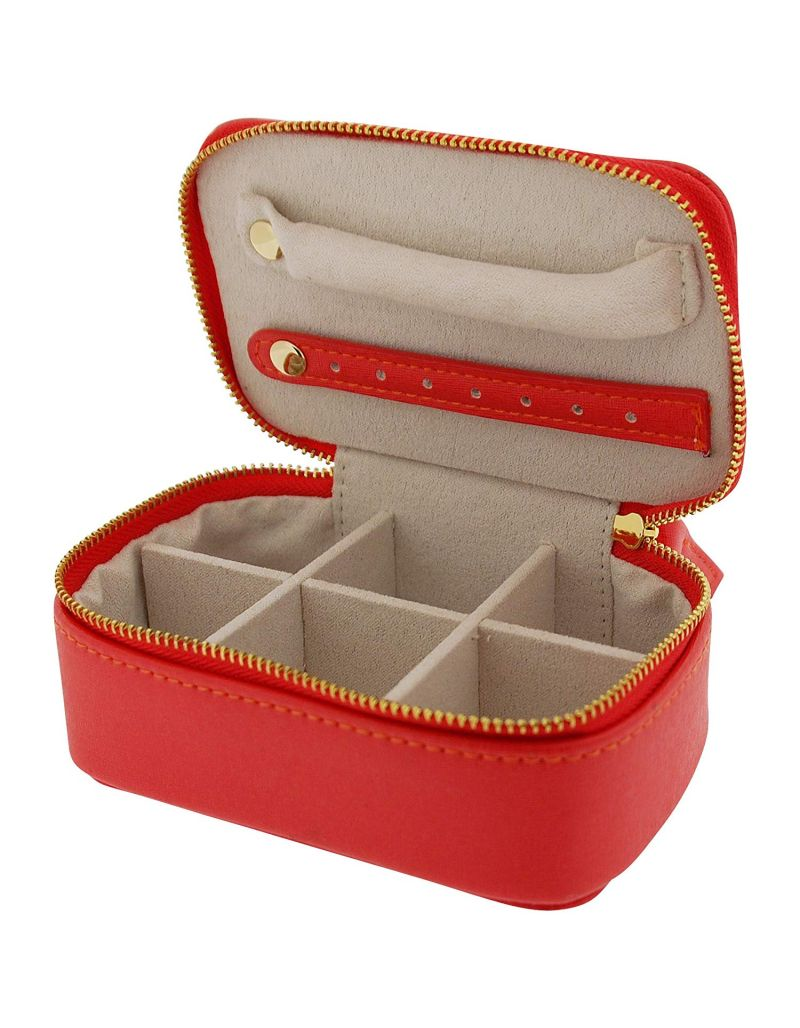 Mele Red Pu Rectangle Small Jewellery Case Ideal For travel 5174