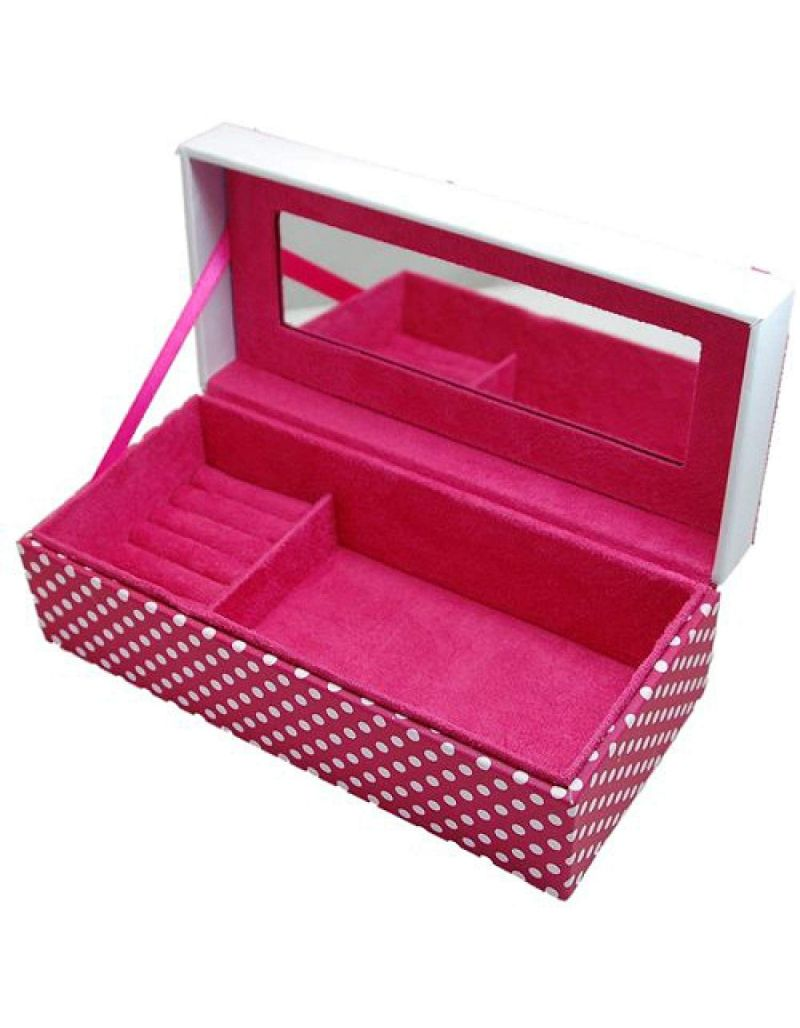 "Mele Ladies - Girls Pink Polka Dot ""Love"" Jewellery Box with Mirror"