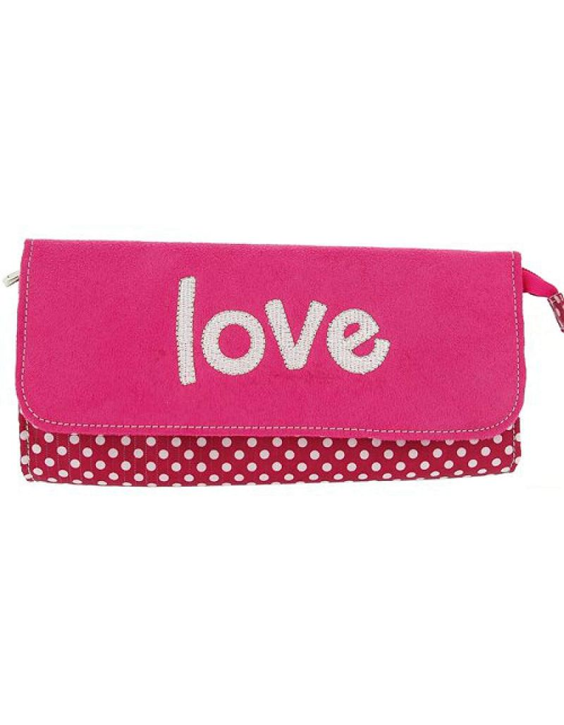 "Mele Girls - Ladies Pink Suedette ""Love"" Jewellery/Make Up Travel Purse"