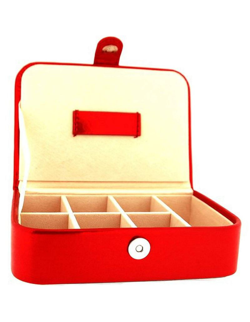 Mele Ladies-Girls Red Metallic Jewellery Box Ideal For Traveling