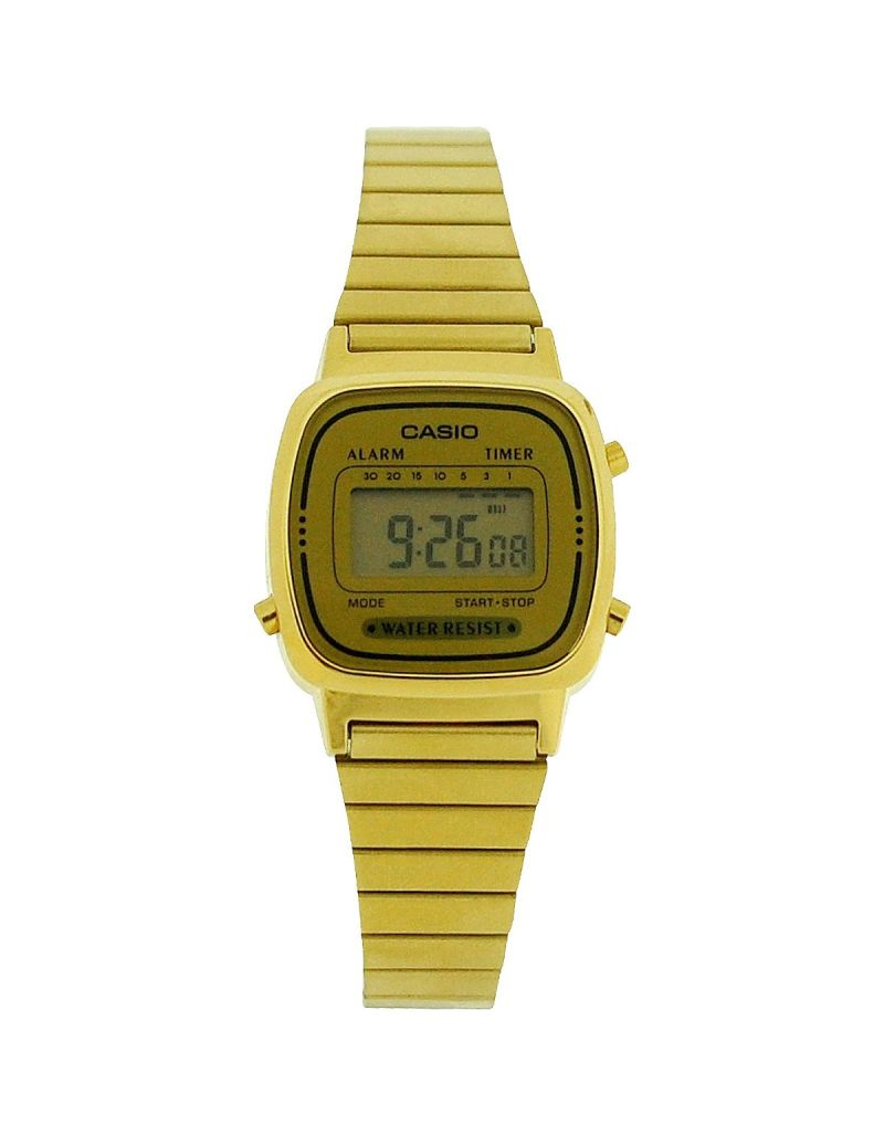CASIO Ladies Digital Alarm Goldtone Metal Bracelet Watch  LA670WGA