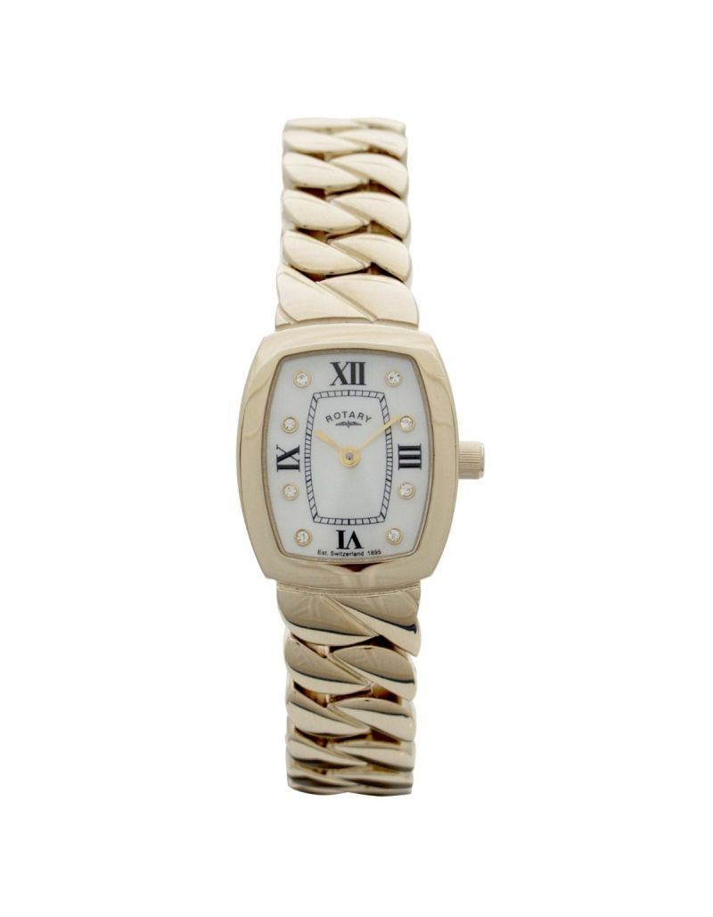 Rotary Ladies Analogue Goldtone Solid Bracelet Metal Strap Watch LB02441/40
