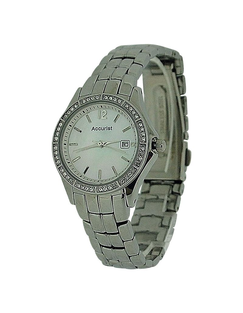Accurist Ladies Mother of Pearl Date Diamante Bezel Bracelet Strap Watch LB1418