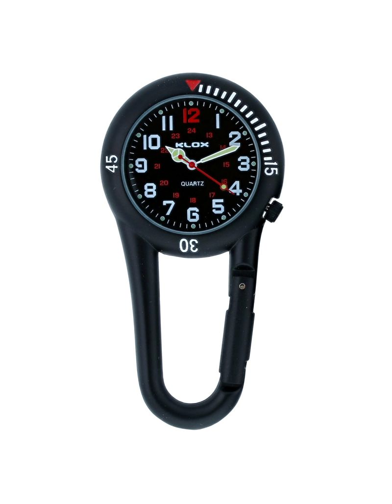KLOX Black Clip on Carabiner Rotating Bezel Black Face FOB Watch for Doctors Nurses Paramedics Chefs