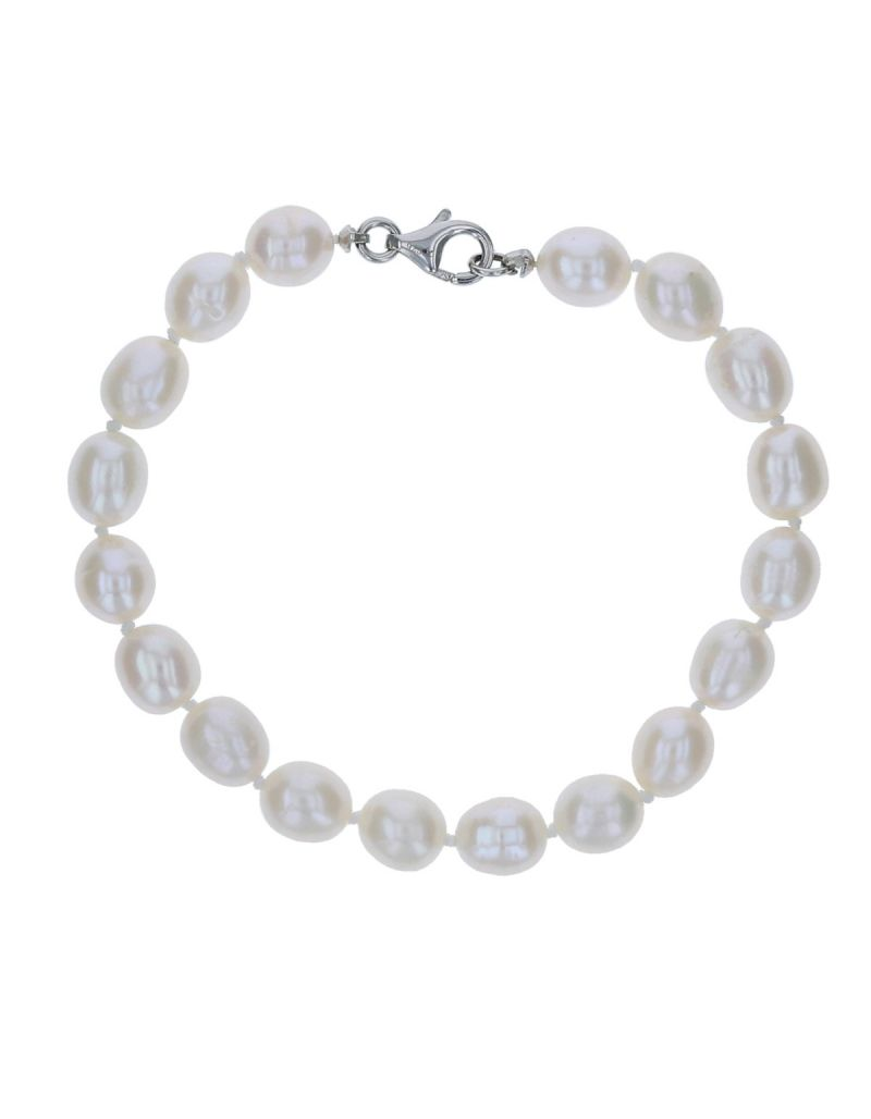 Ladies Bleached White Freshwater Pearl Bracelet - The Olivia Collection 7""