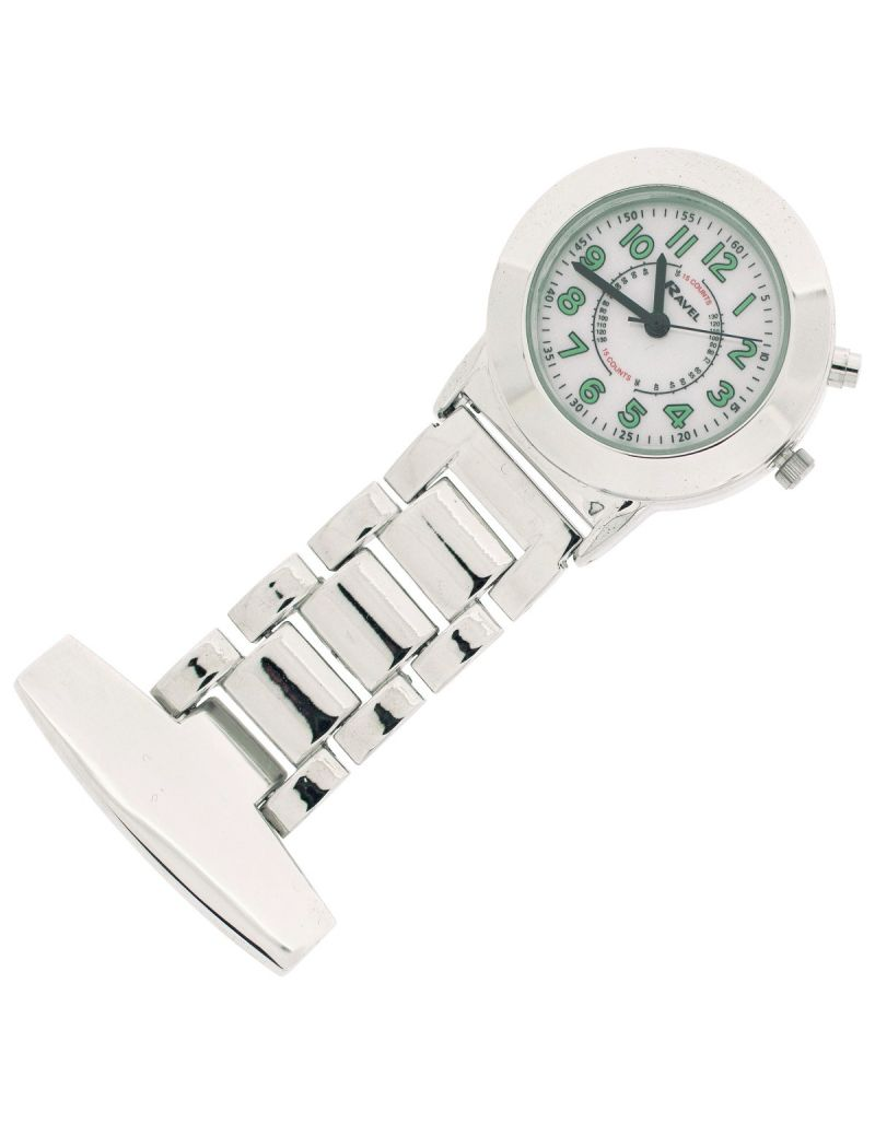 Ravel Unisex Silver Tone Professional Nurses Fob Watch With Backlight R1101EL