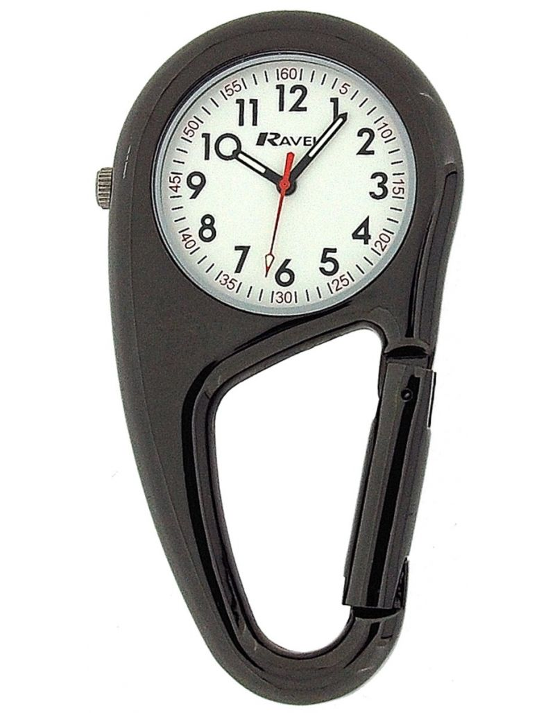 Ravel Clip On Doctors Nurses Unisex Carabiner Pocket Fob Backpack Watch R1105.03
