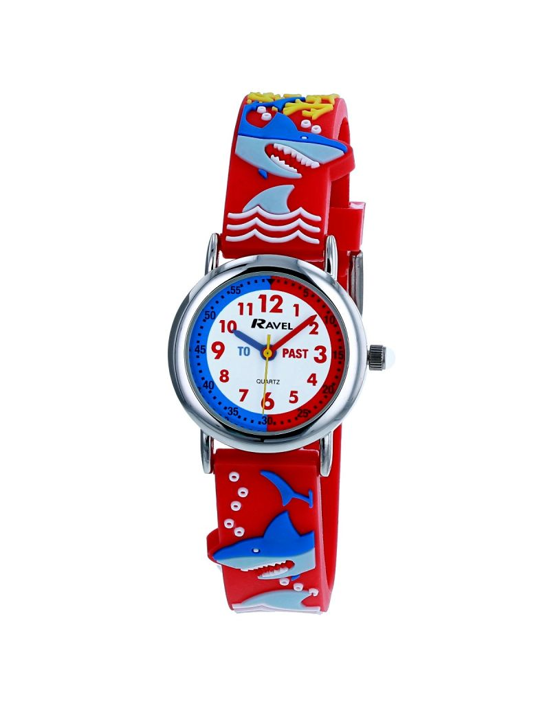 Ravel Children's Boy's 3D Shark Attack Time Teacher Watch  R1513.87