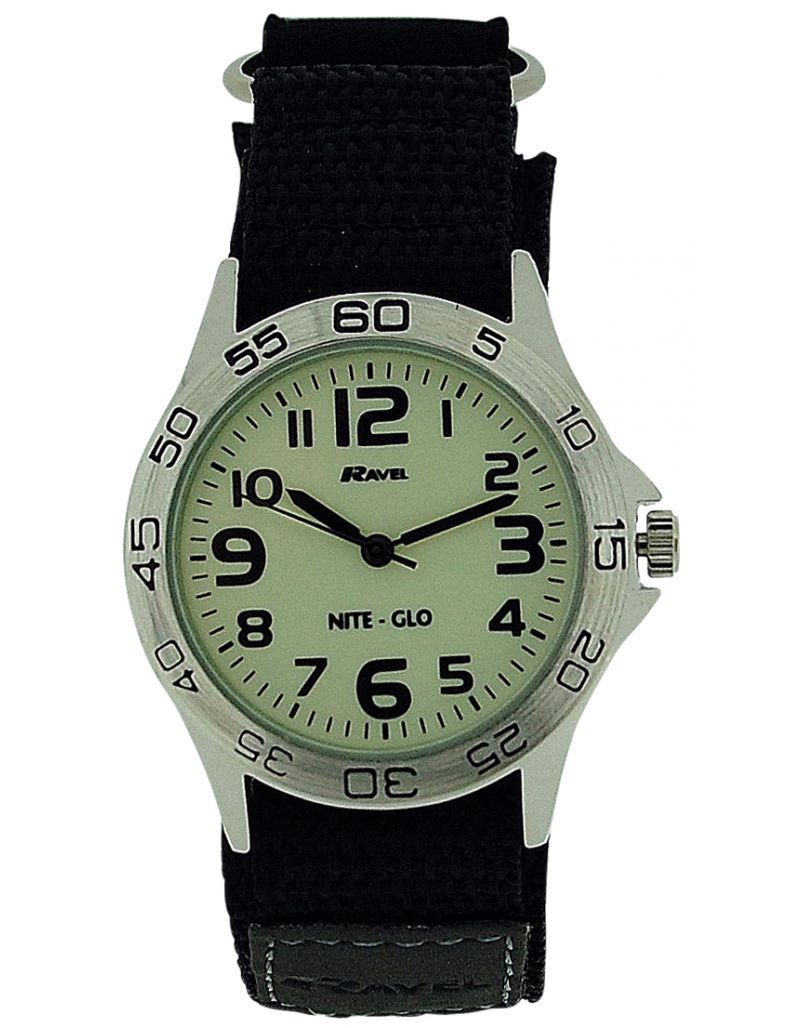 Ravel Nite-Glo Quartz Luminous Dial Easy Fasten Boys Watch R1703.1