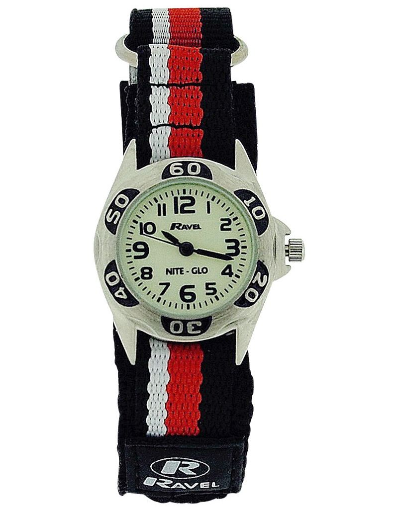 Ravel Nite-Glo Quartz Luminous Dial Black Red&White Easy Fasten Watch R1704.10