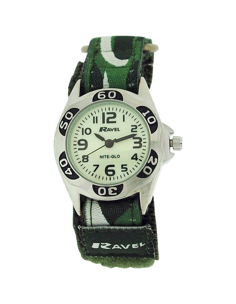 Ravel Nite-Glo Quartz Luminous Dial Army Green Easy Fasten Boys Watch R1704.11